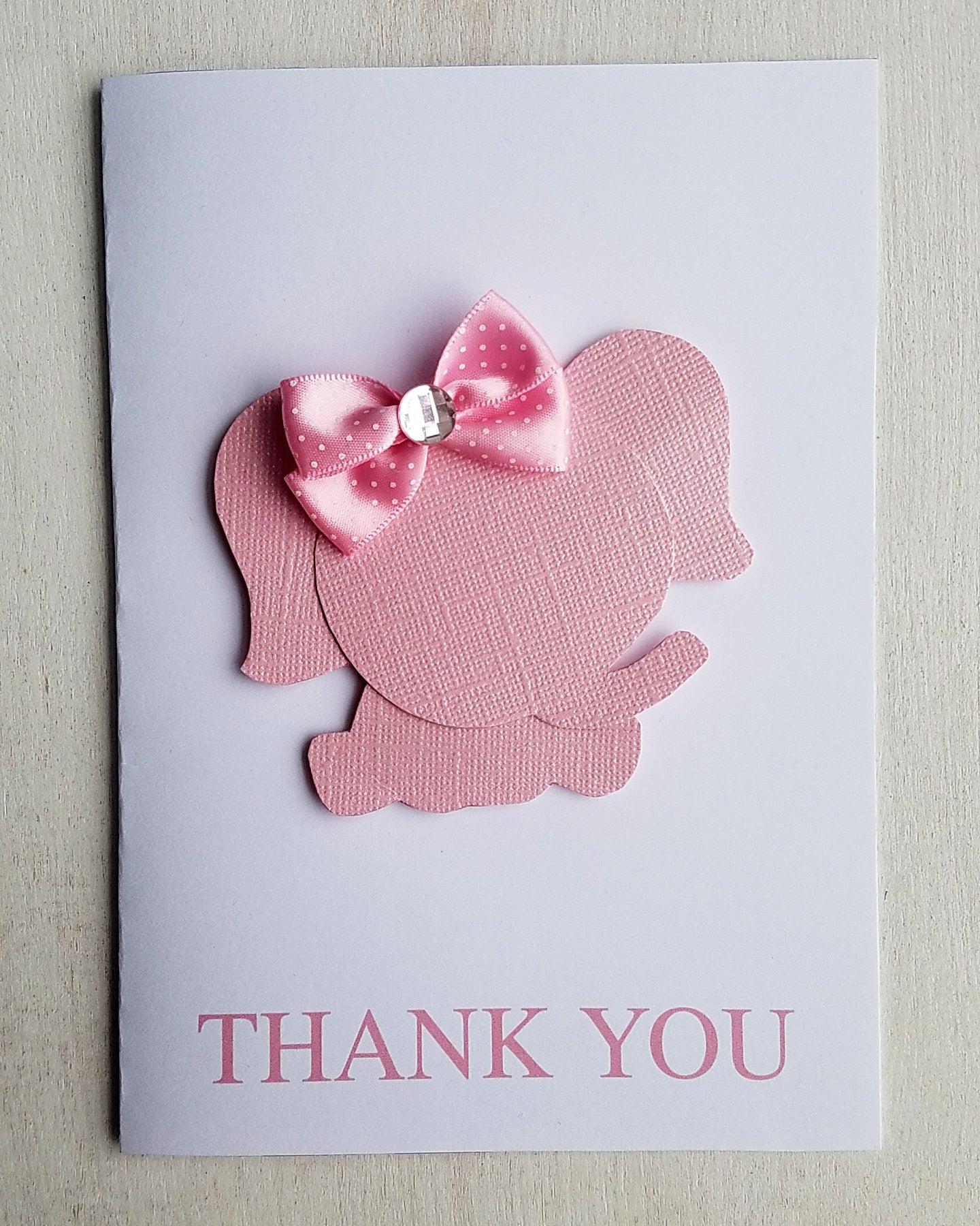 Girl Elephant Baby Shower Thank You Cards