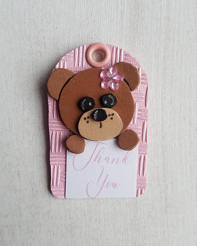 Girl Teddy Bear Baby Shower Favor Tags