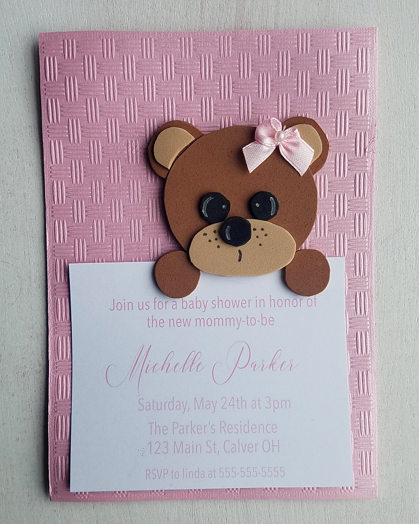 Girl Teddy Bear Baby Shower Invitations - Kaela Party Craft