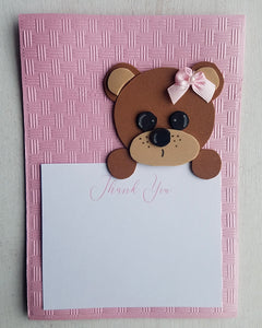 Girl Teddy Bear Baby Shower Thank You Cards
