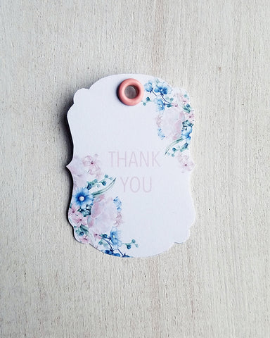 Pink Floral Baby Shower Favor Tags - Kaela Party Craft