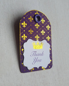 Purple and Gold Baby Shower Favor Tags - Kaela Party Craft