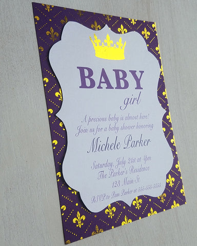 Purple and Gold Baby Shower Invitations
