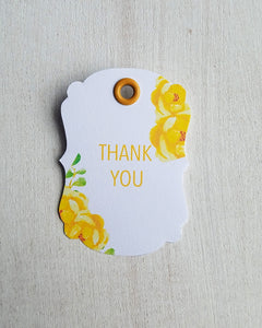 Yellow Floral Baby Shower Favor Tags - Kaela Party Craft