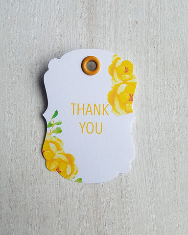 Yellow Floral Baby Shower Favor Tags