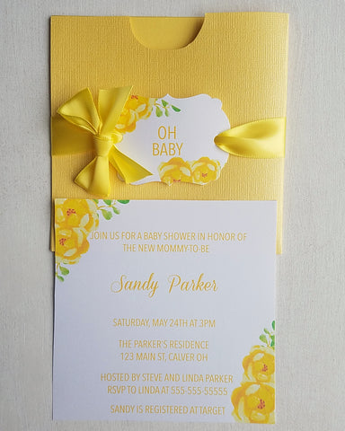 Yellow Floral Baby Shower Invitations - Kaela Party Craft
