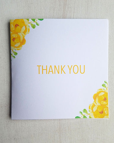 Yellow Floral Baby Shower Thank You Cards - Kaela Party Craft