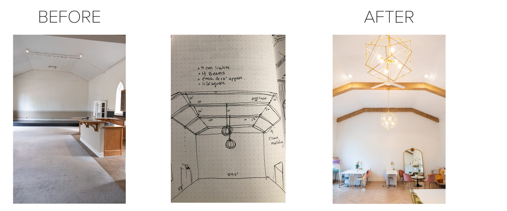 a before picture of the inside of the studio, and drawing of Lynsi's vision, an after picture of beautiful renovated studio
