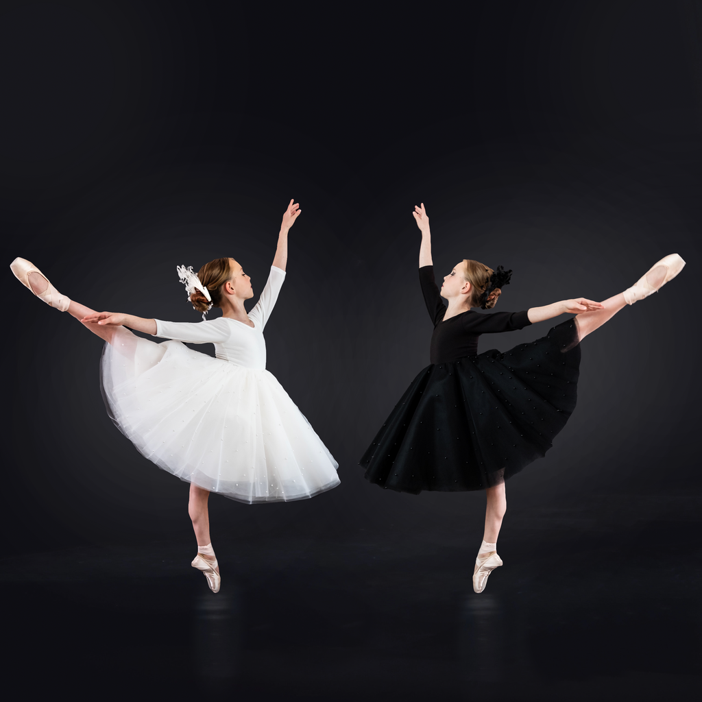 Two ballerinas facing each other in a dance pose. One is wearing the white swan dress and the other is wearing the black swan dress