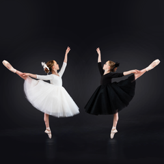two ballerinas facing each other. One is wearing the whit swan dress and the other is wearing the black swan dress