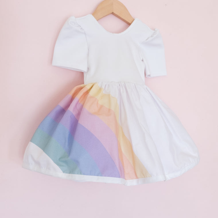 Pastel Rainbow Shortie - White Bodice