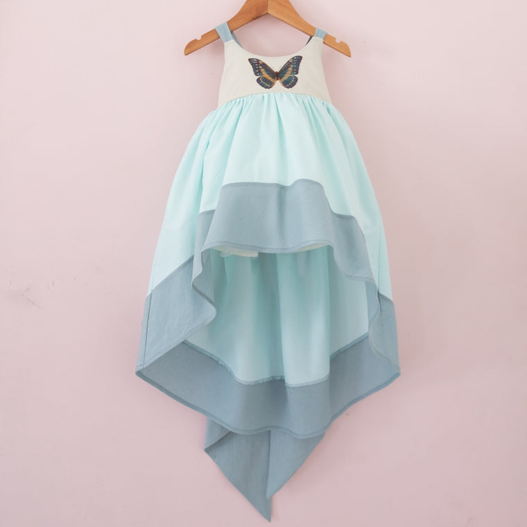 Minty Blue papillon Linen Bow Back Dress