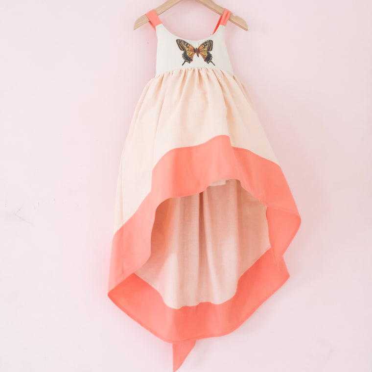 Coral Papillon Linen Bow Back Dress