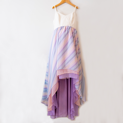 Womens Pastel Rainbow Stripe Chiffon Dress