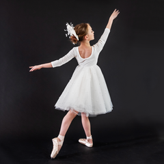 A ballerina dancing showing the back of the white swan dress