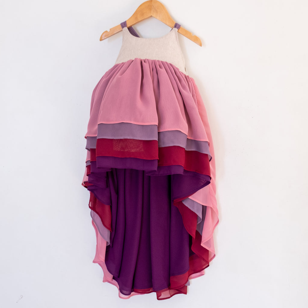 Front of the winterberry chiffon dress