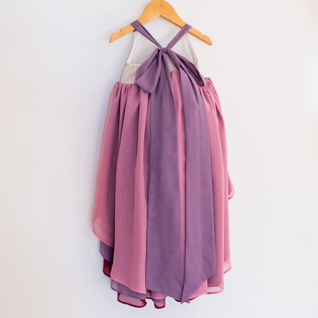 Back of the winterberry chiffon dress