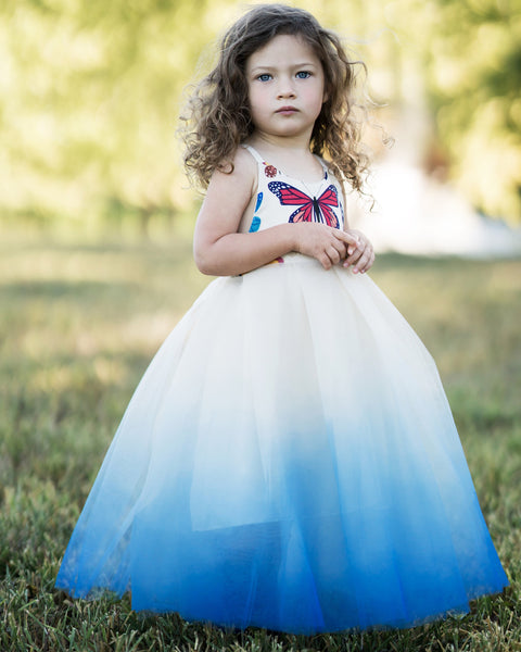 Butterfly Ombre Tulle Dress