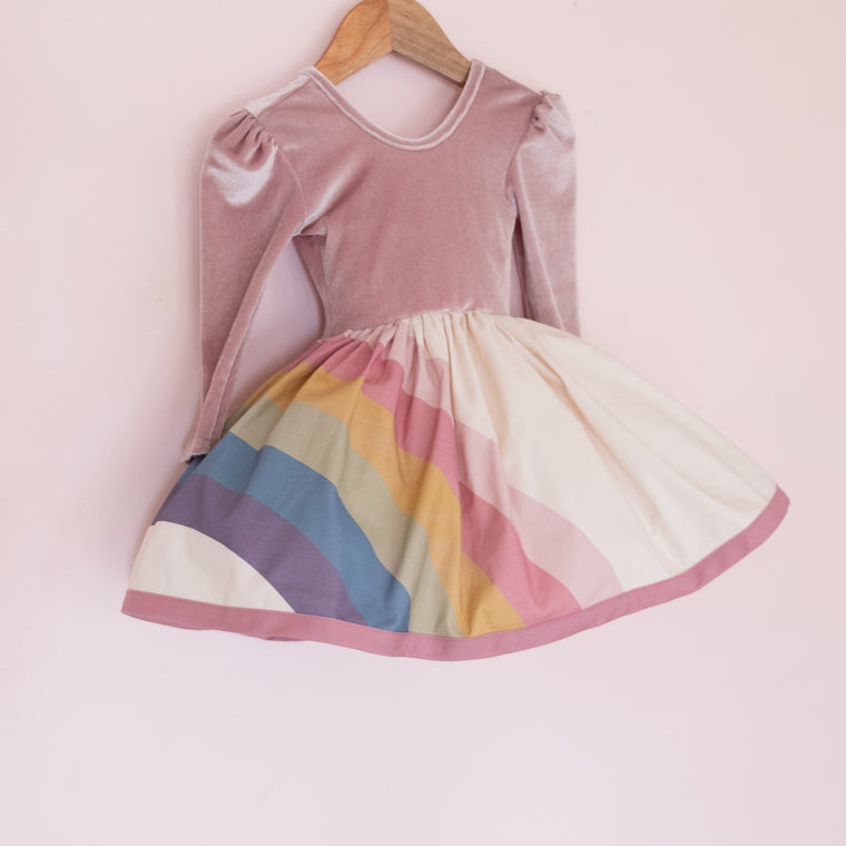Rainbow Puff Sleeve Shortie - Dusty Pink Velvet Bodice
