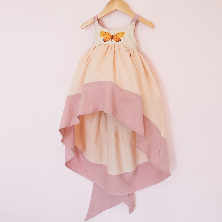 Linen Papillon Dress - Peach