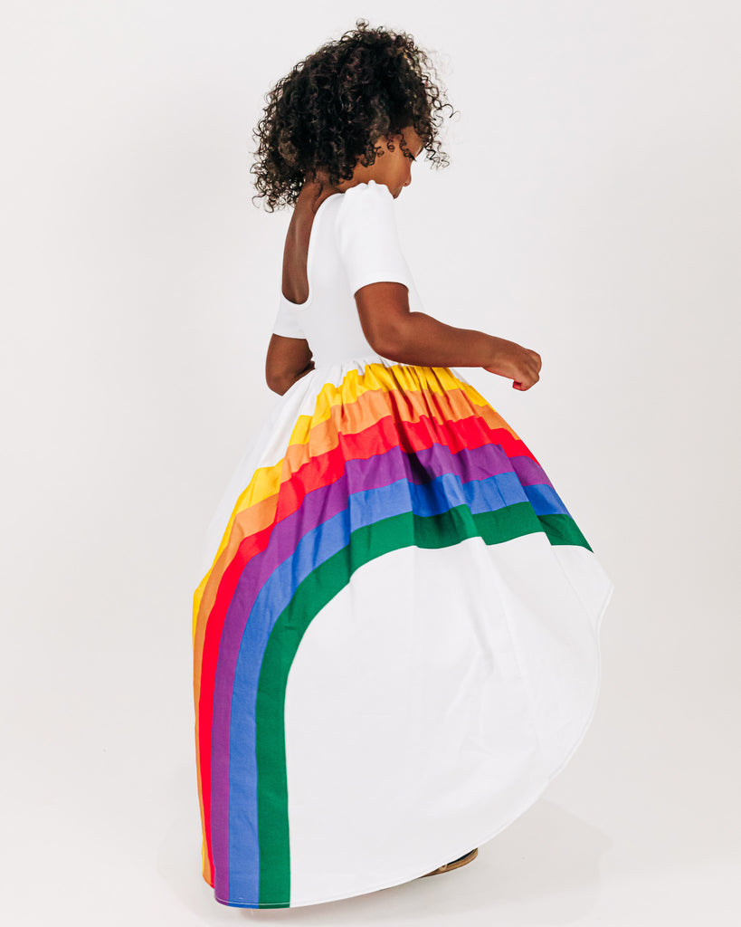 Classic Rainbow Arc Puff Sleeve - White Bodice