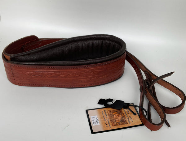 "Long Hollow Leather - 3"" Padded Leather Banjo Strap"