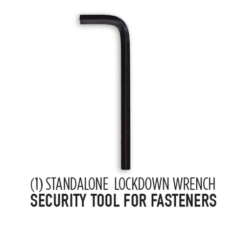 Lockdown security wrench to work with fasteners to attach custom brackets to PS4 and XBOX one controllers