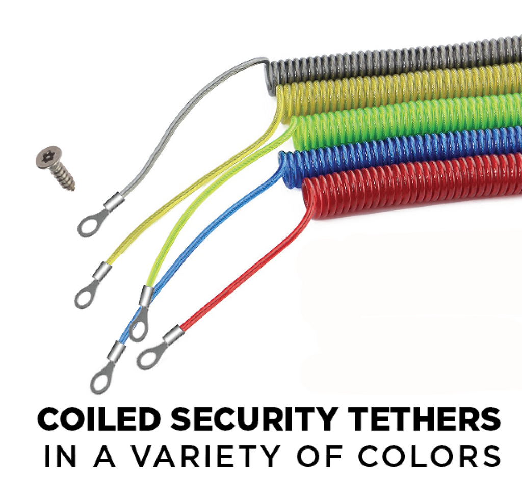 6' coiled security cables for Lockdownmycontroller.com Anti-Theft Security Hardware Systems