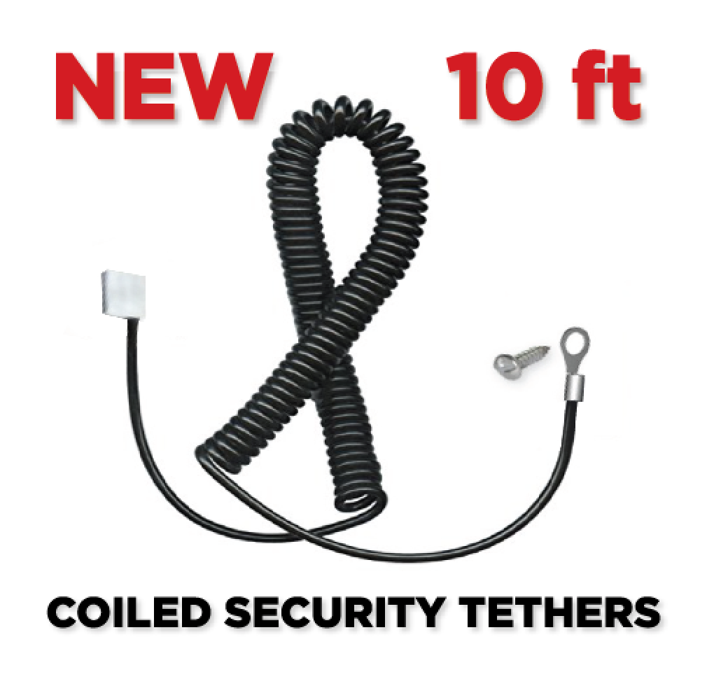 Coiled Security Tethers in BLACK - 10' for XBOX one and PS4 from lockdownmycontroller.com