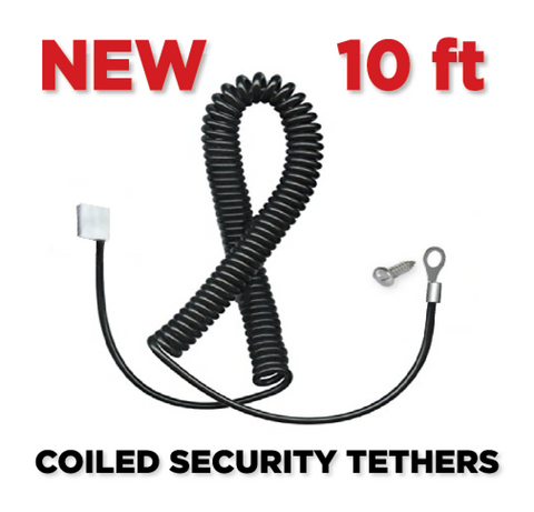 ALL NEW COILED SECURITY TETHERS in BLACK - 10'