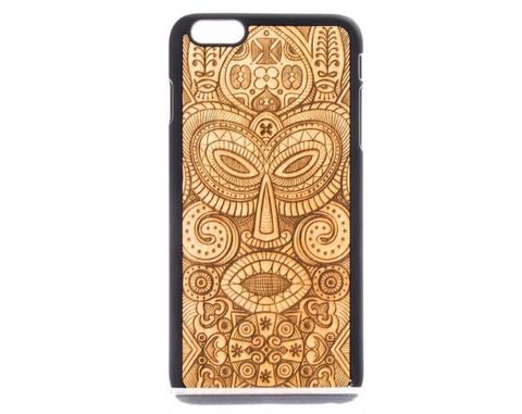 Hand Made Wooden Case with Tribal Mask Design