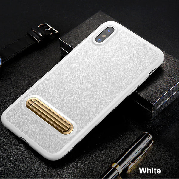 White Black Leather & Metal Foundry Case for iPhone™ X from Lockdownmycontroller.com