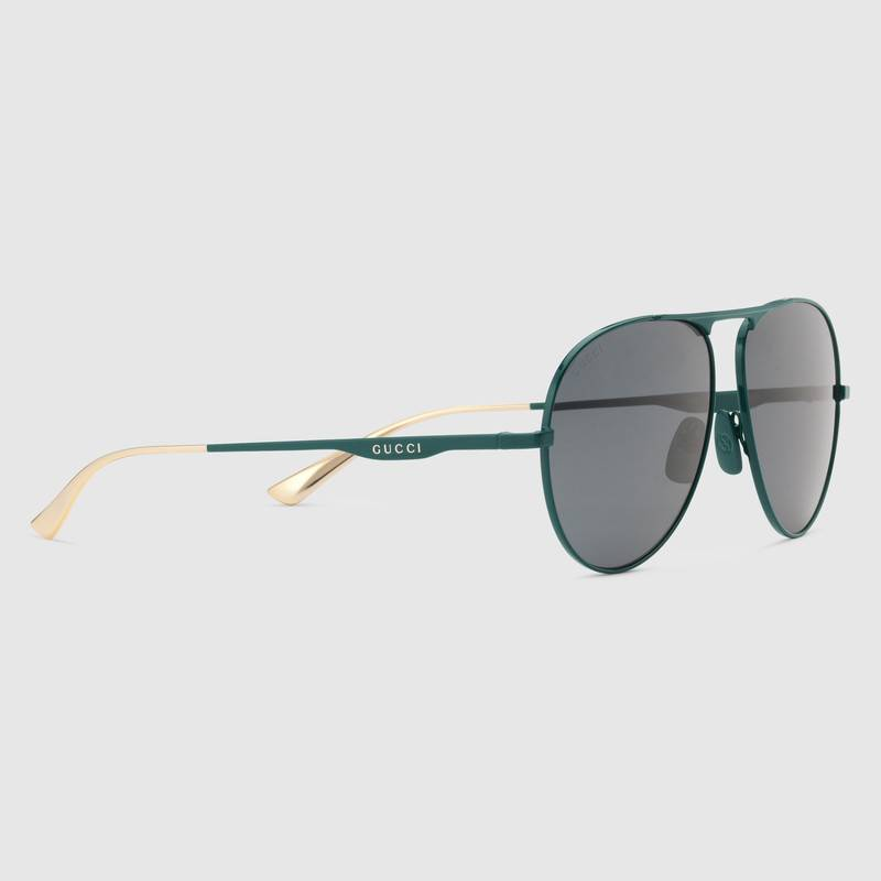 Gucci Mens Aviator metal sunglasses