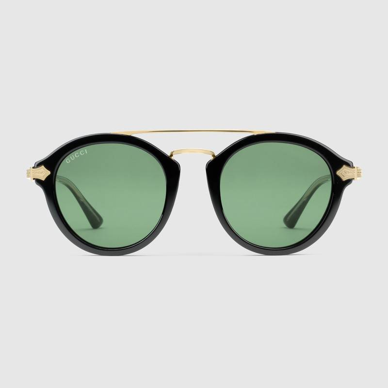 Gucci Men Round-frame acetate sunglasses