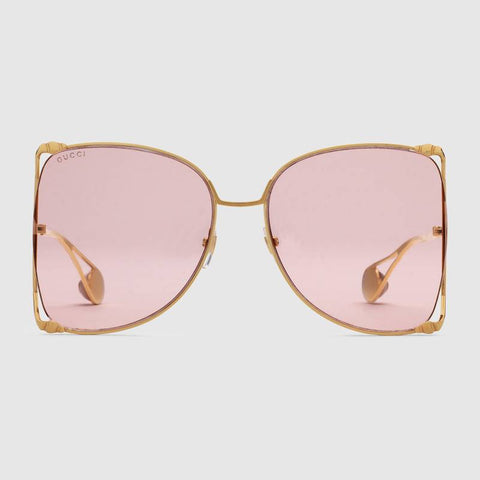 Gucci Oversize round-frame metal sunglasses