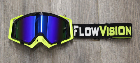 Flow Vision Rythem™ Motocross Goggle: Black/Flo Yellow