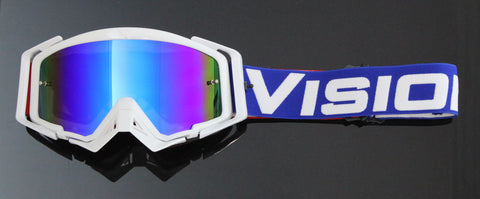 Flow Vision Rythem™ Motocross Goggle: Red, White and Blue