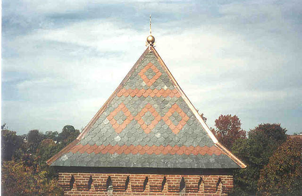 Black slate steeple with red inlay pattern