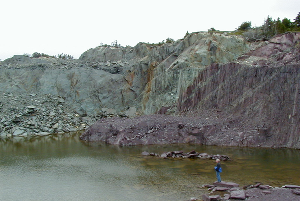 Vermont slate quarry with sea green and royal purple slate