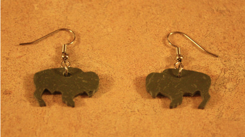 Grey Slate Bison Dangle Earrings