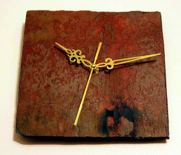 Weathered Square Slate Clock Gold Hands