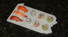 Pennsylvania Cararra White Marble with Sushi