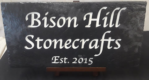 Custom Black Slate Carved Sign