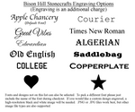 Recommended Engraving Fonts