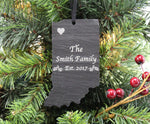 Indiana Slate Christmas Ornament- Personalized with Laser Engraving