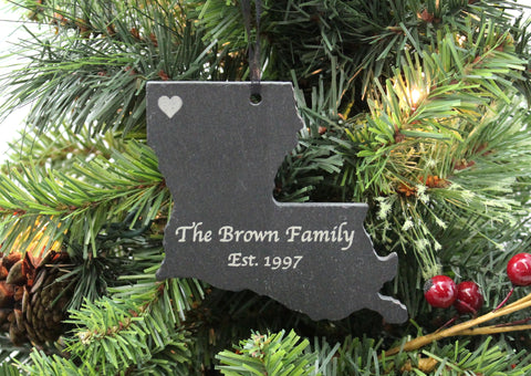 Louisiana Slate Christmas Ornament