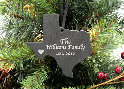 Texas Slate Christmas Ornament