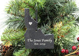 Idaho Slate Christmas Ornament- Personalized with Laser Engraving