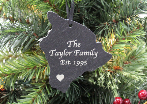 Hawaii Slate Christmas Ornament- Personalized with Laser Engraving
