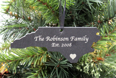 North Carolina Slate Christmas Ornament